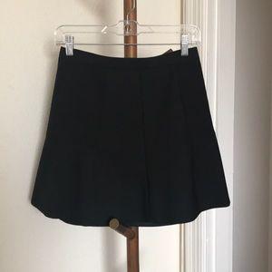 J.Crew Black Fluted Mini Skirt